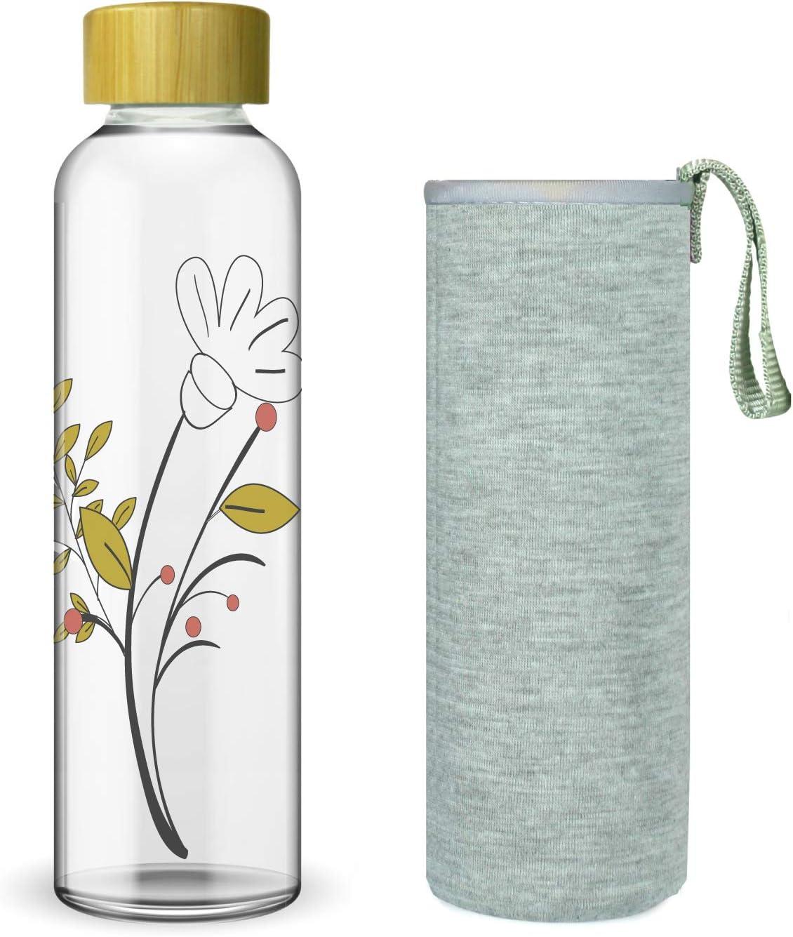 Wenburg Cantimplora Botella de Cristal con Tapa de bambú 550/750 ...