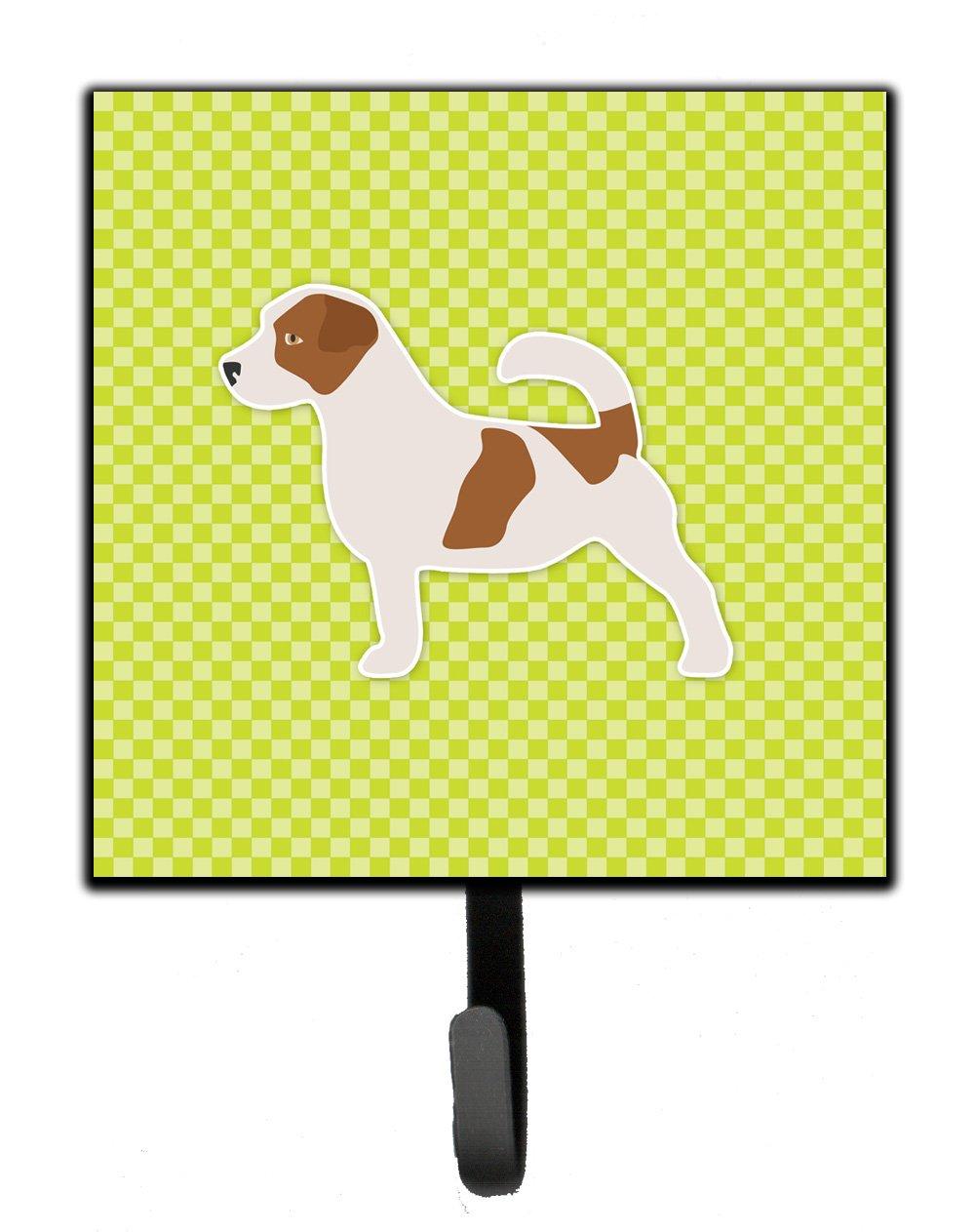 Carolines Treasures Jack Russell Terrier Checkerboard Green Leash or Key Holder BB3807SH4 Small Multicolor