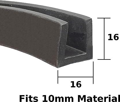Medium U section black rubber car edge protective trim 13mm x 9mm