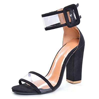 aa070df4317 Women s Beella Dress Sandal Transparent High Heel Pump Sandals  FashionContrast Color Ankle Strap Open Toe Shoes Strappy Chunky Block High  Heel - Formal