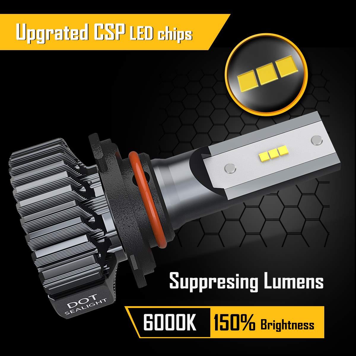 SEALIGHT S1 series Super Bright 24xCSP chips LED Automotive Headlamp-6000K Xenon White DOT Approved 2 Pack H4//9003//HB2 LED Headlight Bulbs Hi//Lo Beam Conversion Kit