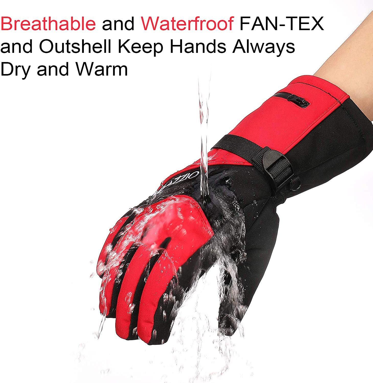 VELAZZIO Waterproof Breathable Snowboard Gloves Fits both Men /& Women Ski Gloves 3M Thinsulate Insulated Warm Winter Snow Gloves