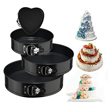 Springform Cake Pan Set,3pcs Round(7 /9 /10 ) and 1pcs Heart Shaped(4 ),Premium Leakproof Nonstick Steel Cheesecake Bakeware Pan Set