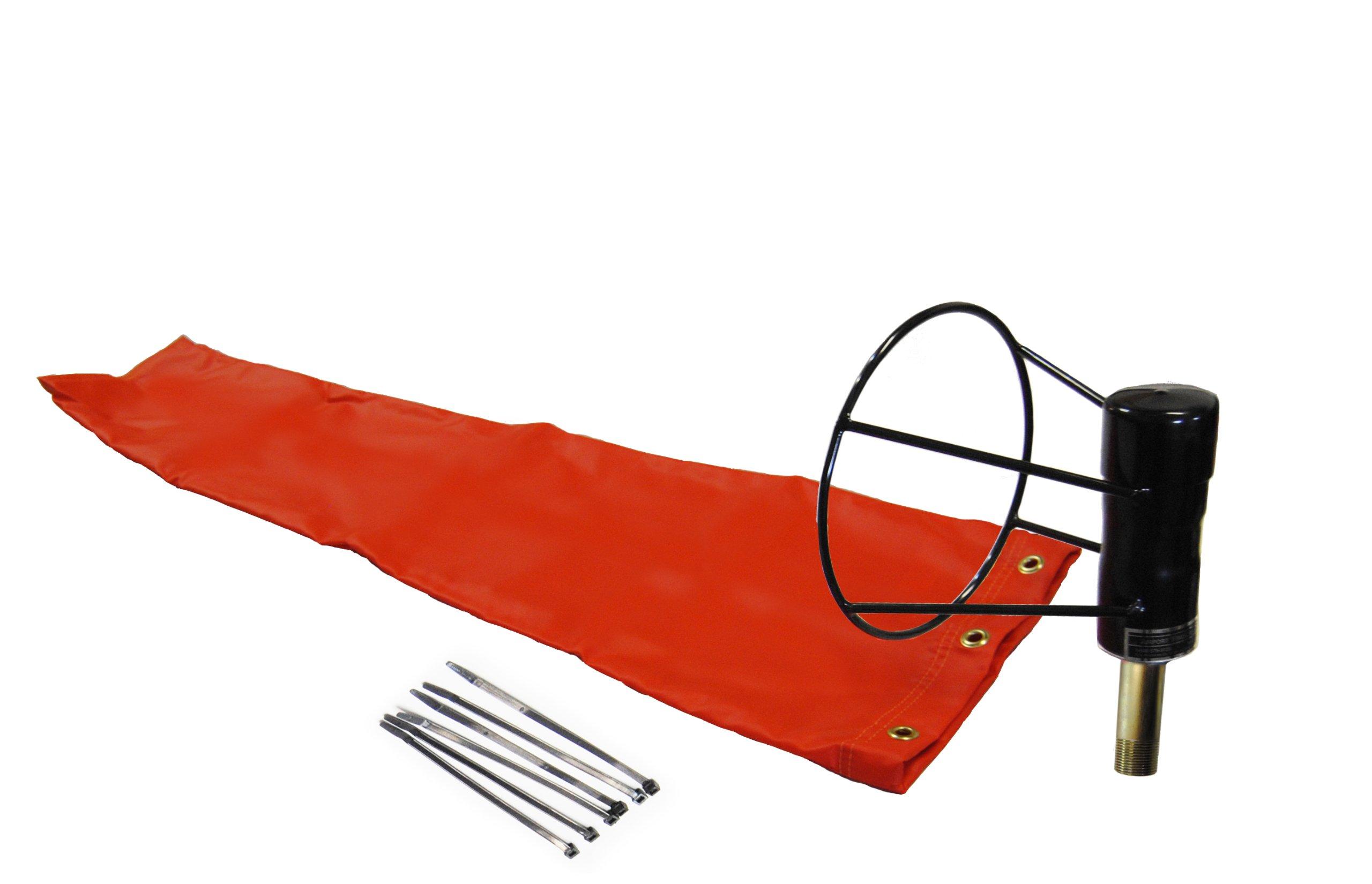 Airport Windsock Corporation 8'' X 36'' Orange Windsock and 8'' Ball Bearing Frame USA Made