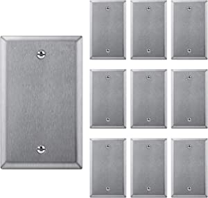 [10 Pack] BESTTEN Stainless Steel No Device Wall Plates, 1 Gang Standard Blank Metal Outlet Covers, Durable Anti-Corrosion Industrial Grade Stainless Steel Materials, Silver