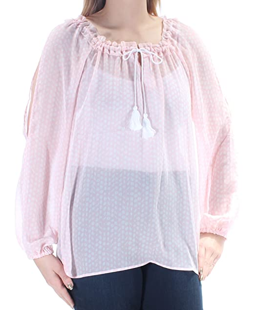 ab27f91f00afe Image Unavailable. Image not available for. Color  Tommy Hilfiger Womens Sheer  Cold Shoulder Pullover Top Pink S