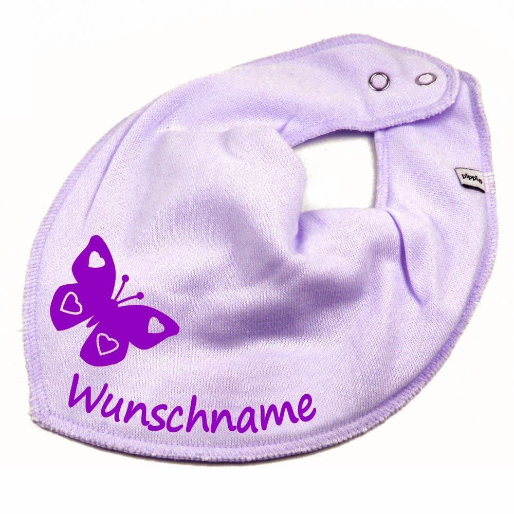 HALSTUCH SCHMETTERLING mit Namen oder Text personalisiert khaki f/ür Baby oder Kind