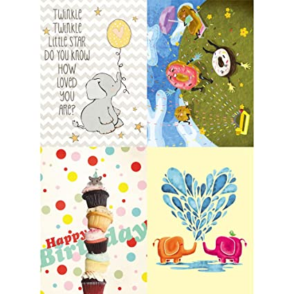 Amazon tree free greetings playful kids birthday card tree free greetings playful kids birthday card assortment 5 x 7 inches 8 m4hsunfo