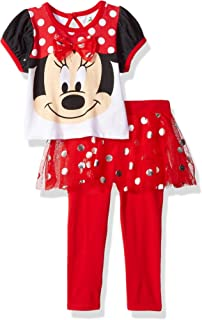 Disney Girls' 2 Piece Minnie Mouse Glitter Skegging Set, Red, 12m