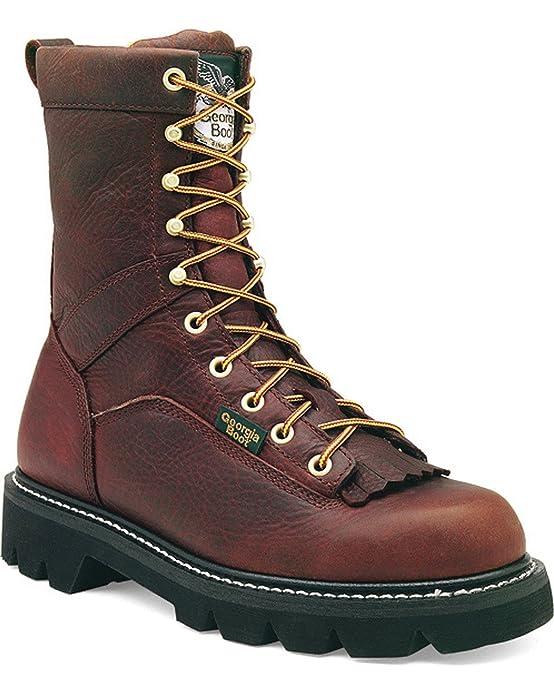 """Men's 8"""" Brown Low Heel Logger Work Boots 10.5M Brown G8044"""