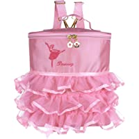 School Backpack Ballerina Dancing Bag Cute Girls Ballet Dress Dance Bag Backpack Embroidered Tiered Ruffled Mesh Bag with Plastic/Metal Clasp Plastic Clasp One Size