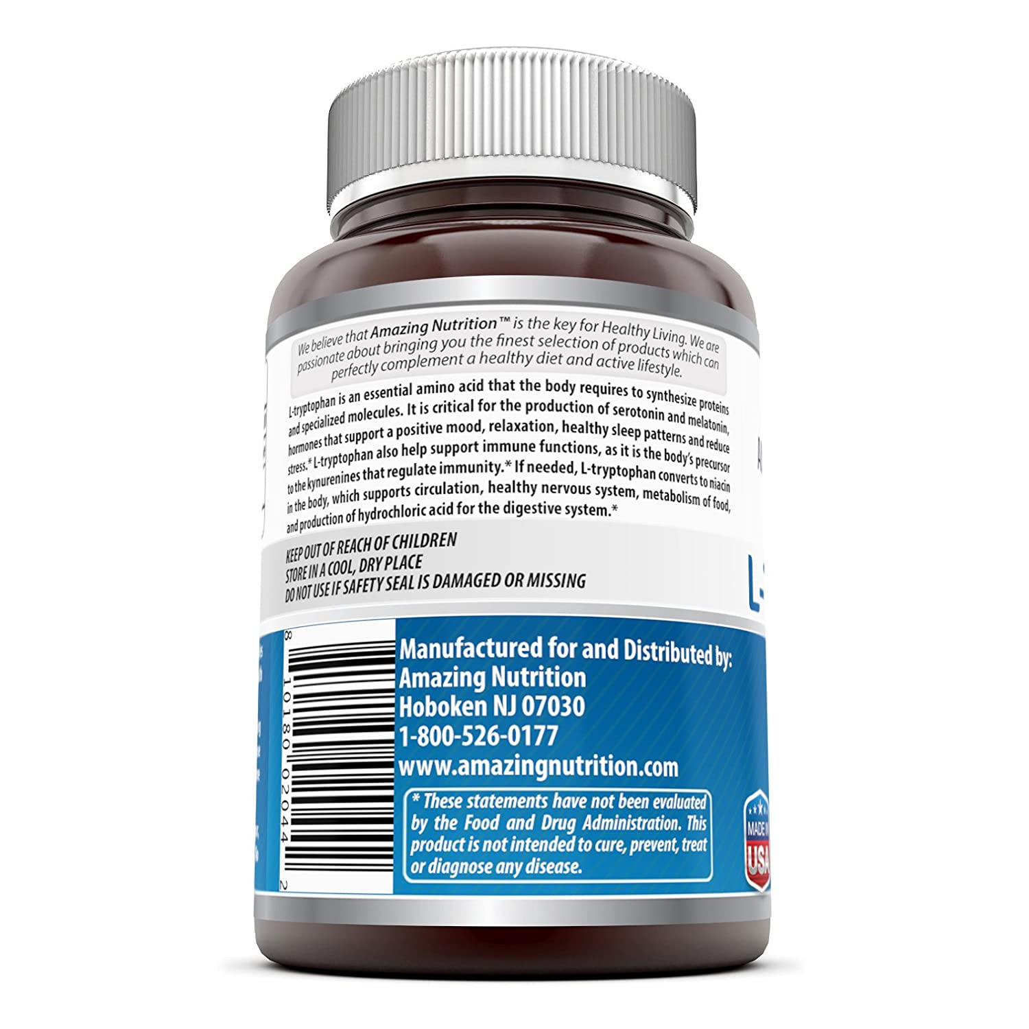 Amazing Nutrition L Tryptophan 500 Mg 60 caps - Supports Mood, Relaxation, and Restful Sleep -...