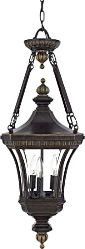 Quoizel DE1490IB Devon Outdoor Lantern Pendant Lighting, 3-Light, 180 Watts, Imperial Bronze 31 H x 11 W