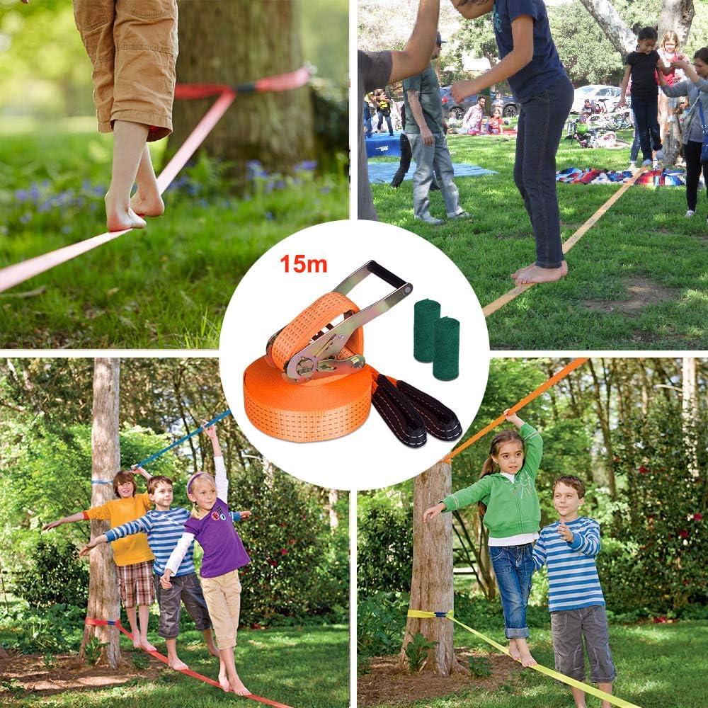 Kit Slackline con protectores para árboles y bolsa de transporte ...