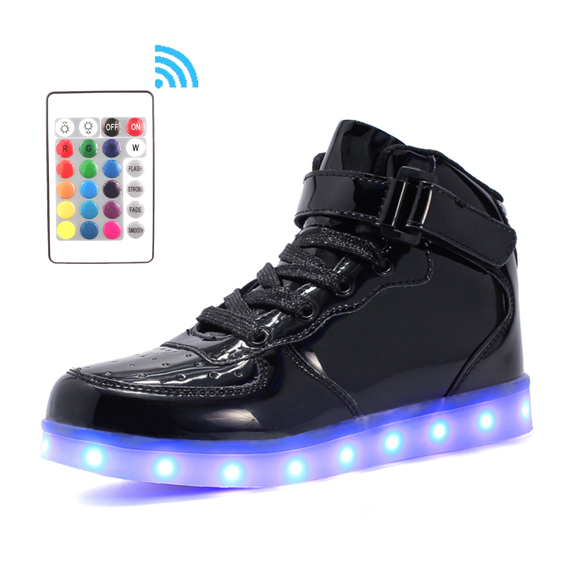 Voovix Kids LED Light up Shoes High-top Flashing Shiny Sneakers with Remote Control for Boys and Girls(black01,US1/CN33)