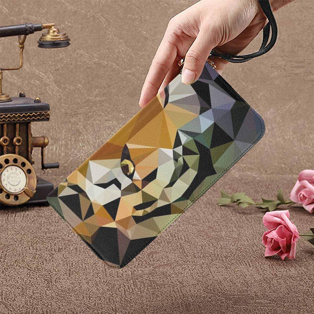 InterestPrint Cool Animals in Mosaic Geometric Triangle Womens Clutch Wallet Large Wristlet Zipper Clutch Large Travel Purse
