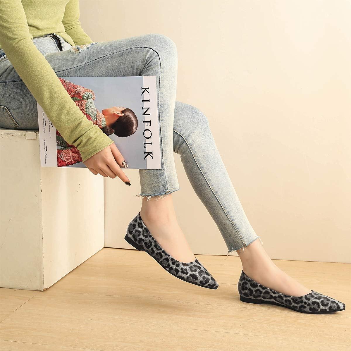 Modenpeak Womens Classic Pointy Toe Ballet Flats Slip On Comfort Dress Shoes