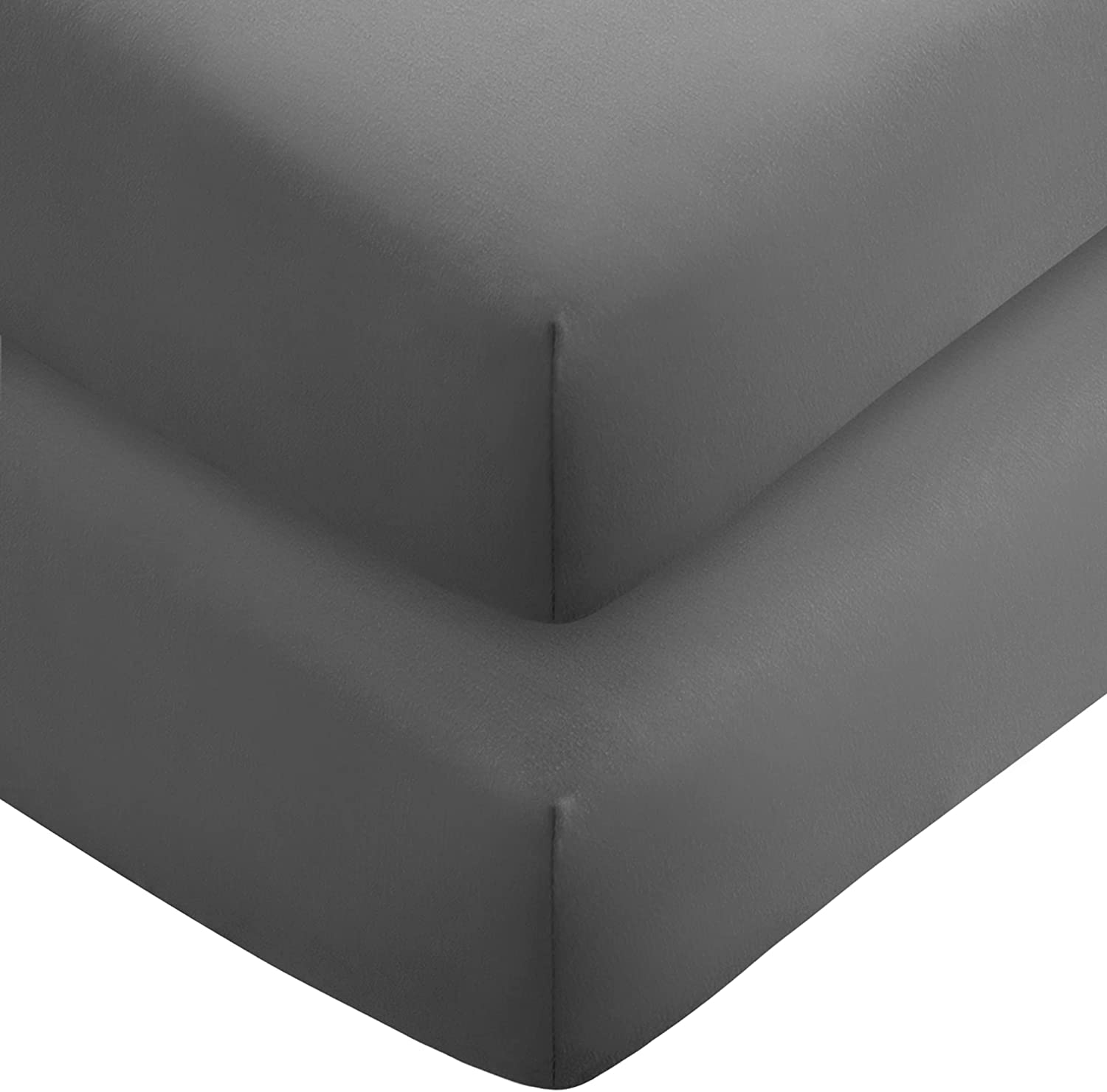 Bare Home 2-Pack Fitted Bottom Sheets King - Premium 1800 Ultra-Soft Microfiber - Deep Pocket (King, Grey)