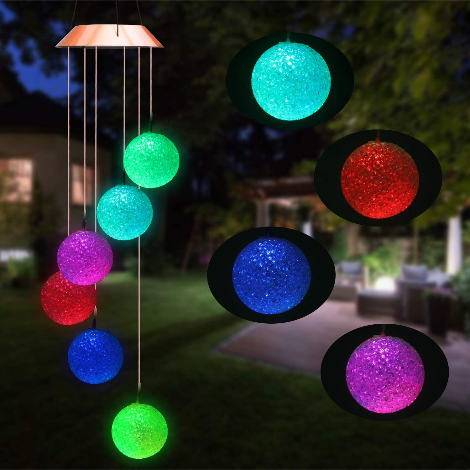 Beinhome Solar Garden Light with 7 Color Changing Crystal Ball Wind Chime Outdoor Garden Decoration Light for Patio, Yard, Home, Pathway