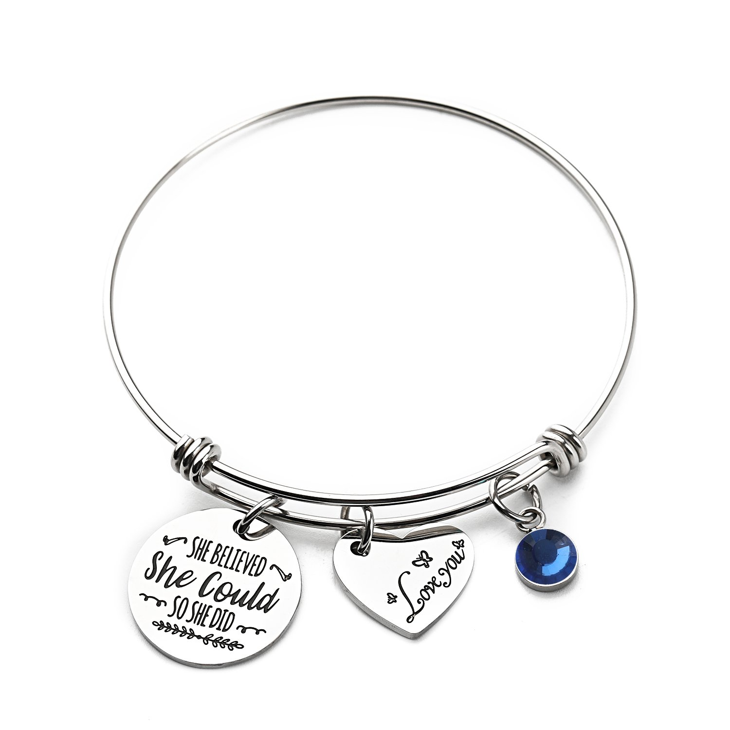 Haoze Birthday Gift Jewelry She Believed She Could So She Did Bangle Bracelet Inspirational Graduation Gift for Girl,Women (Sapphire-september) by Haoze (Image #1)