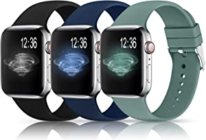 Sport Bands Compatible with Apple Watch Band 38mm 40mm 42mm 44mm,Soft Silicone Replacement Wristbands Straps for iWatch Series 1/2/3/4/5 Women Men(T,Black,Cactus,Navy Blue)