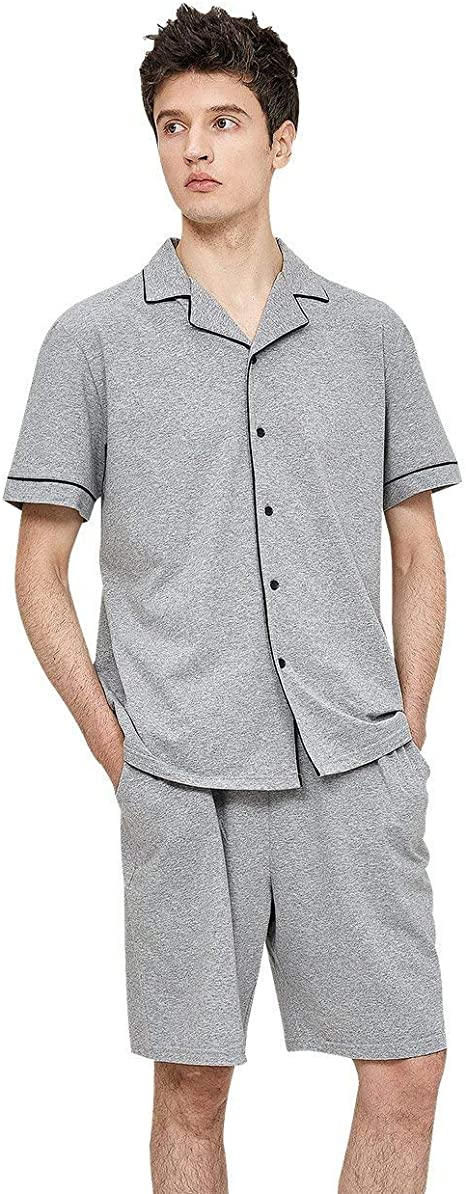 BOLAWOO Pijama De Verano Conjunto De Algodón De Manga Pijamas Corta De Manga Mode De Marca Corta Chaqueta De Ocio De Hombres: Amazon.es: Ropa y accesorios