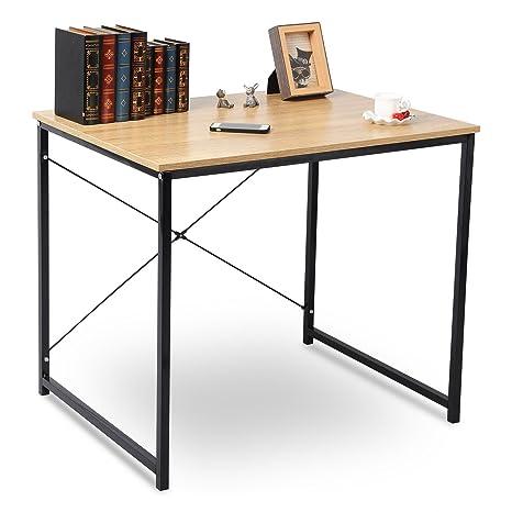 Tavolo Acciaio Legno.Woltu Scrivania Computer Tavolo Pc Scaffale Moderno In Acciaio Legno Per Ufficio Lavoro Studio 80x60x70cm