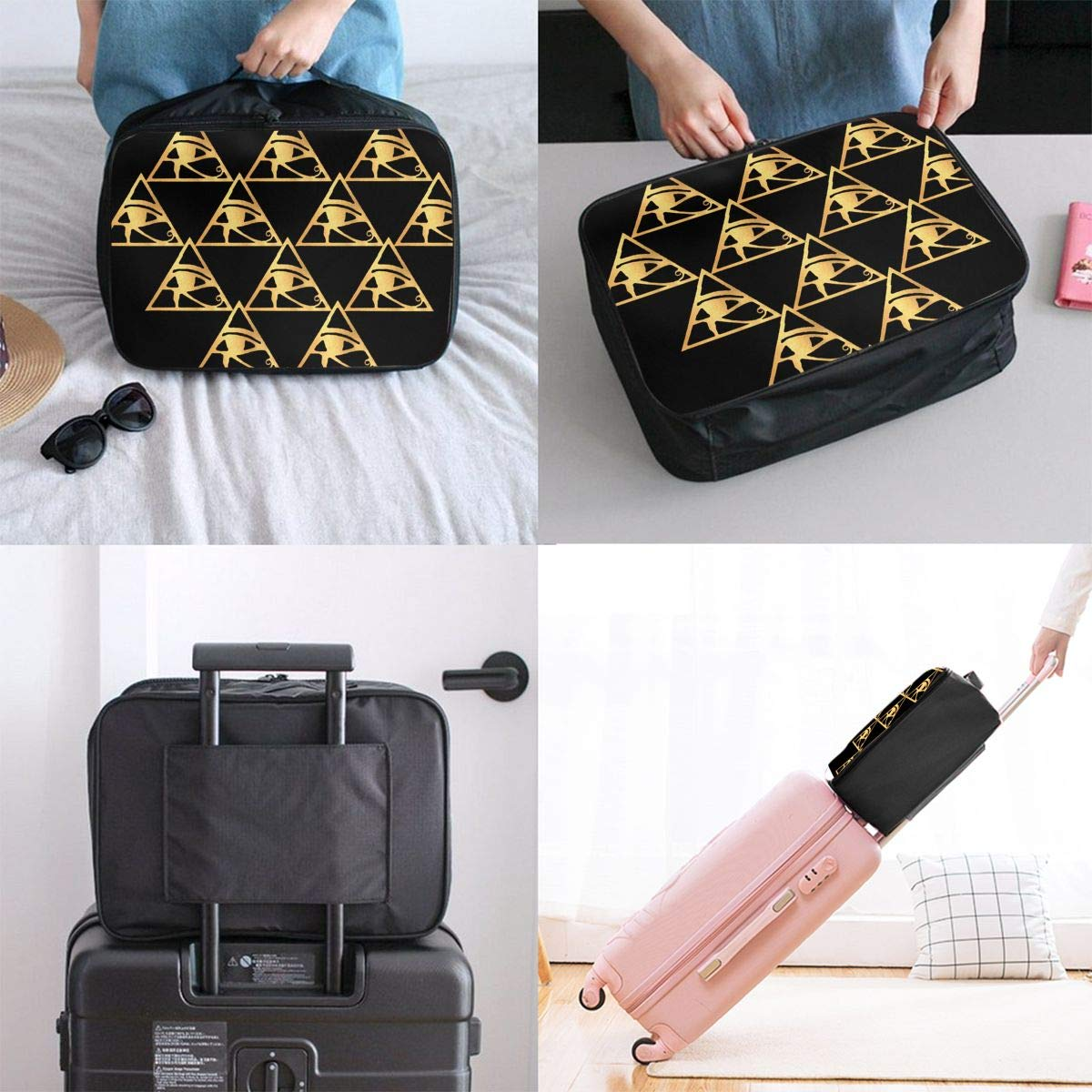 STWINW Triangle Golden Flower Travel Fashion Lightweight Large Capacity Portable Waterproof Foldable Storage Carry Luggage Bag Luggage Duffle Tote Bag Hanging Travel Toiletry Bag Travel Makeup Bag