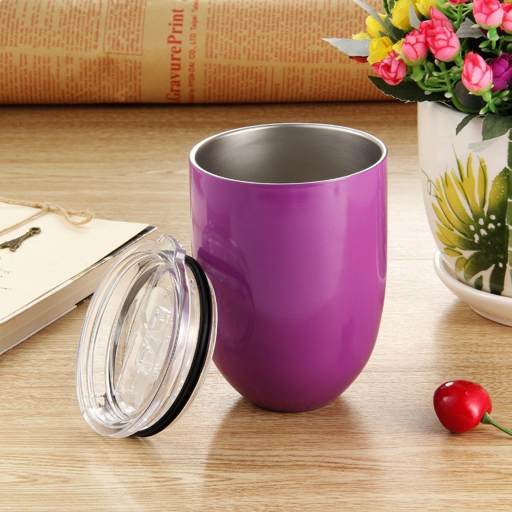 Stainless Steel Wine Glass-Double Walled Insulated Vacuum Tumbler 10 oz with Slide Lock Lid - Heat and Cold Preservation Cup