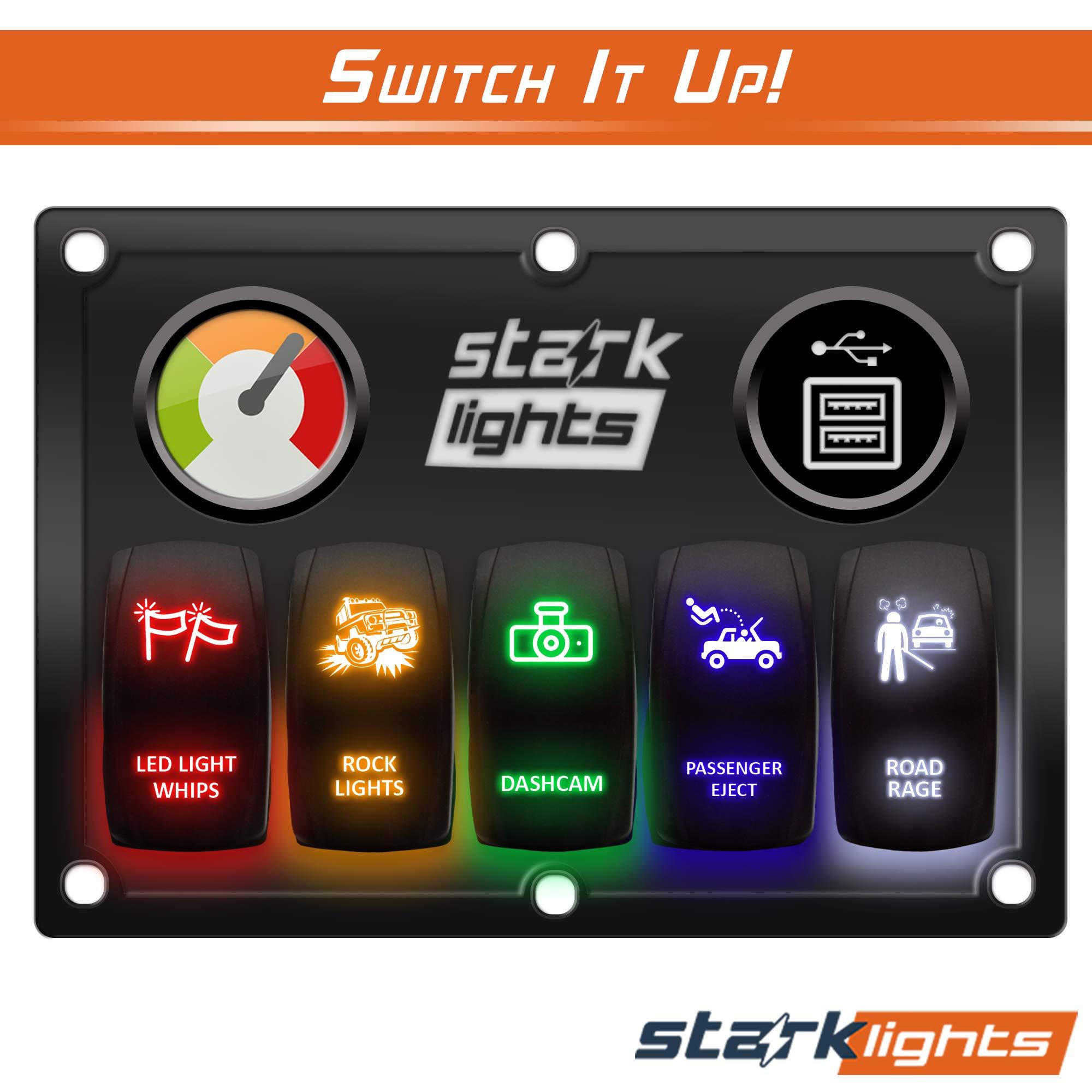 ROAD RAGE BLUE Laser Etched LED Rocker Switch 5 PIN Dual Light 20A 12V ON OFF