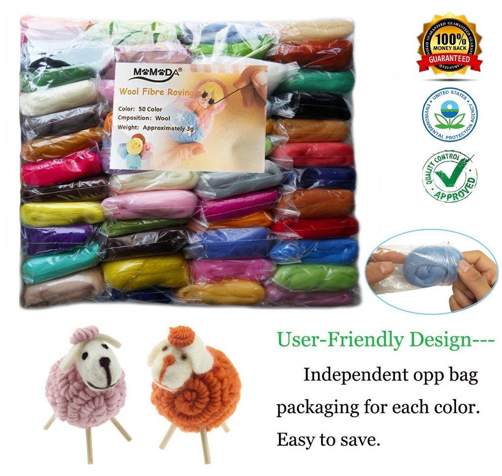 Momoda 4336906521 50 Colors Fibre Wool Yarn Roving For Needle