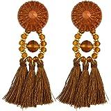 Bohemian Vintage Long Feather Beaded Tassel Drop Earring Stud