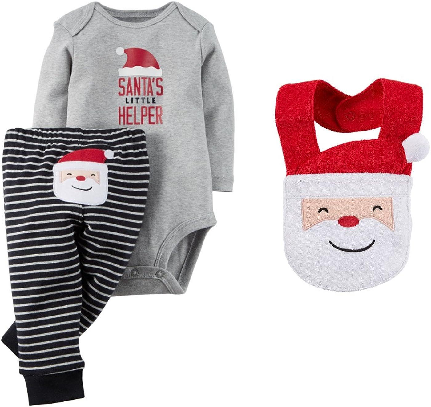 One size Christmas 6 Pack Santa/'s Little Helper Baby Bibs Baby 1st Christmas