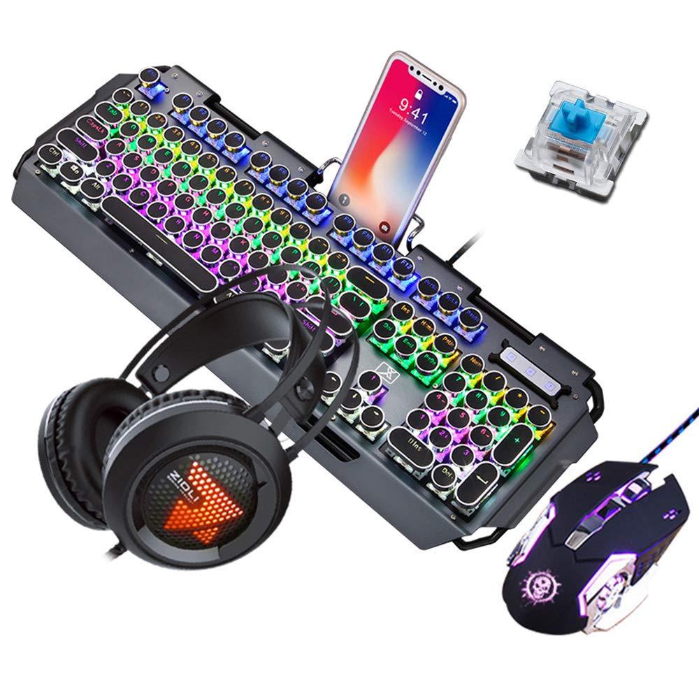 メカニカルゲームキーボードマウスとヘッドセット、ブルースイッチRGB LEDメタルワイヤードキーボード+ 3200DPIマウス+カラフルな呼吸ライトゲームヘッドセット B07MCXDLLT