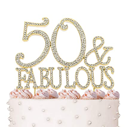 Amazon 50 Fabulous 50th Birthday Cake Topper Crystal Rhinestones On Gold Metal Party Decorations Favors Kitchen Dining