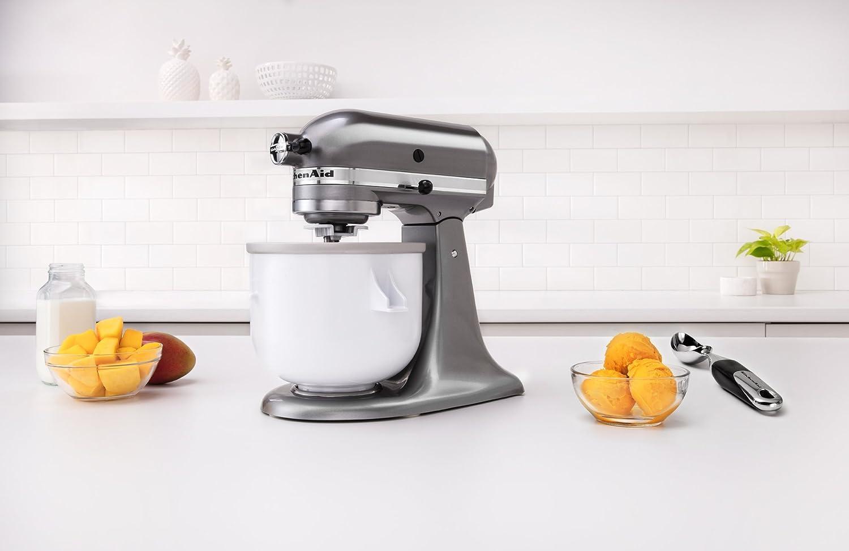 KitchenAid KICA0WH 2 Quart Ice Cream Maker Stand Mixer Attachment ...
