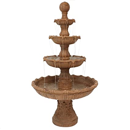 Sunnydaze Large Tiered Outdoor Water Fountain with Ball Top, 80 Inch Tall