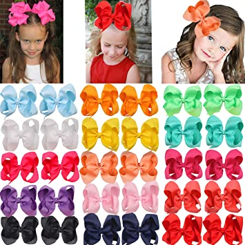 Pair Pink//Orange Bow Hair Clip for Girls Kids Accessories for Hair Baby HairClip