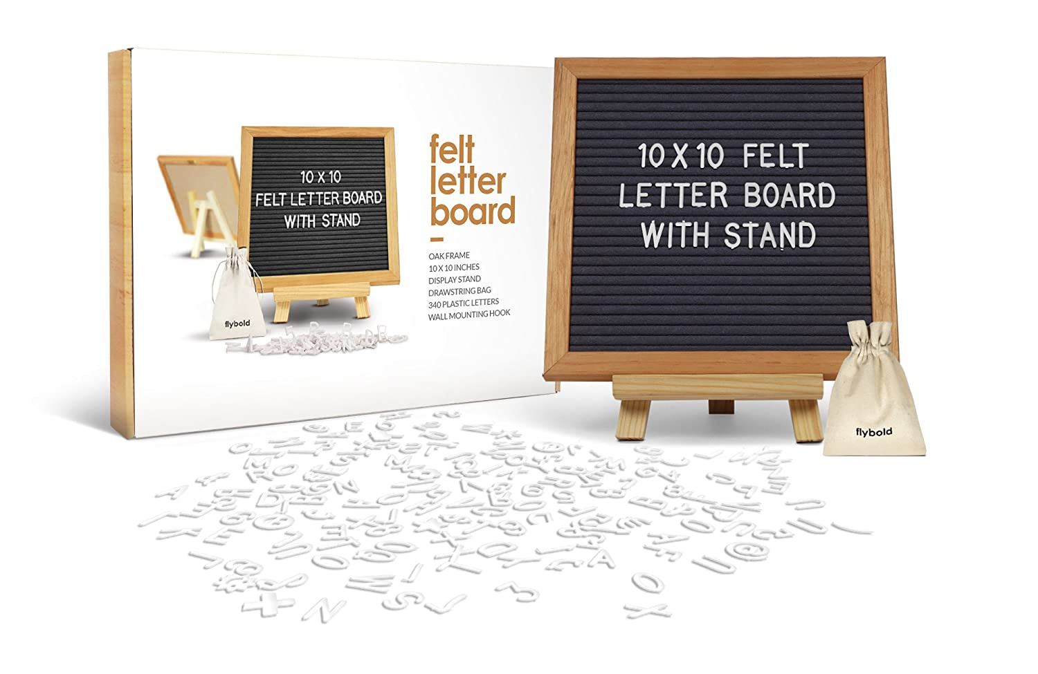 Felt Letter Sign Board 10 x 10 inches with Wooden Tripod Stand Classy Gray Felt 340 Changeable White Plastic Letters Gift Box Packaging Oak Frame Wall Mount Hanger Drawstring Storage Bag Perfect Gift DDRPL
