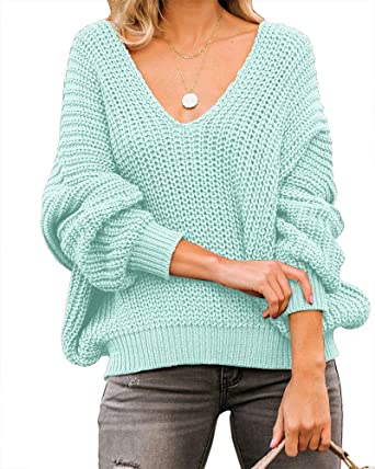 Oversized V Neck Drop Shoulder Textured Sweater Women Ladies Tops Loose Casual Pullovers F,