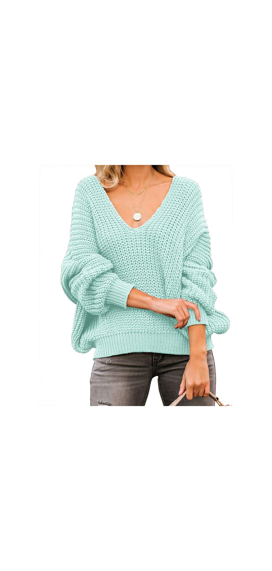 Womens Sweaters Oversized Off The Shoulder V Neck Pullover Knit