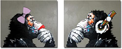 Fokenzary Hand Painted Oil Painting on Canvas Listening Music Pop Gorilla Couple Lover Wall Decor Framed Ready to Hang