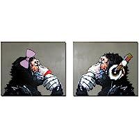 Fokenzary dipinta a mano pittura a olio su tela ascoltare musica pop Gorilla coppia Lover decorazione della parete incorniciato pronto da appendere