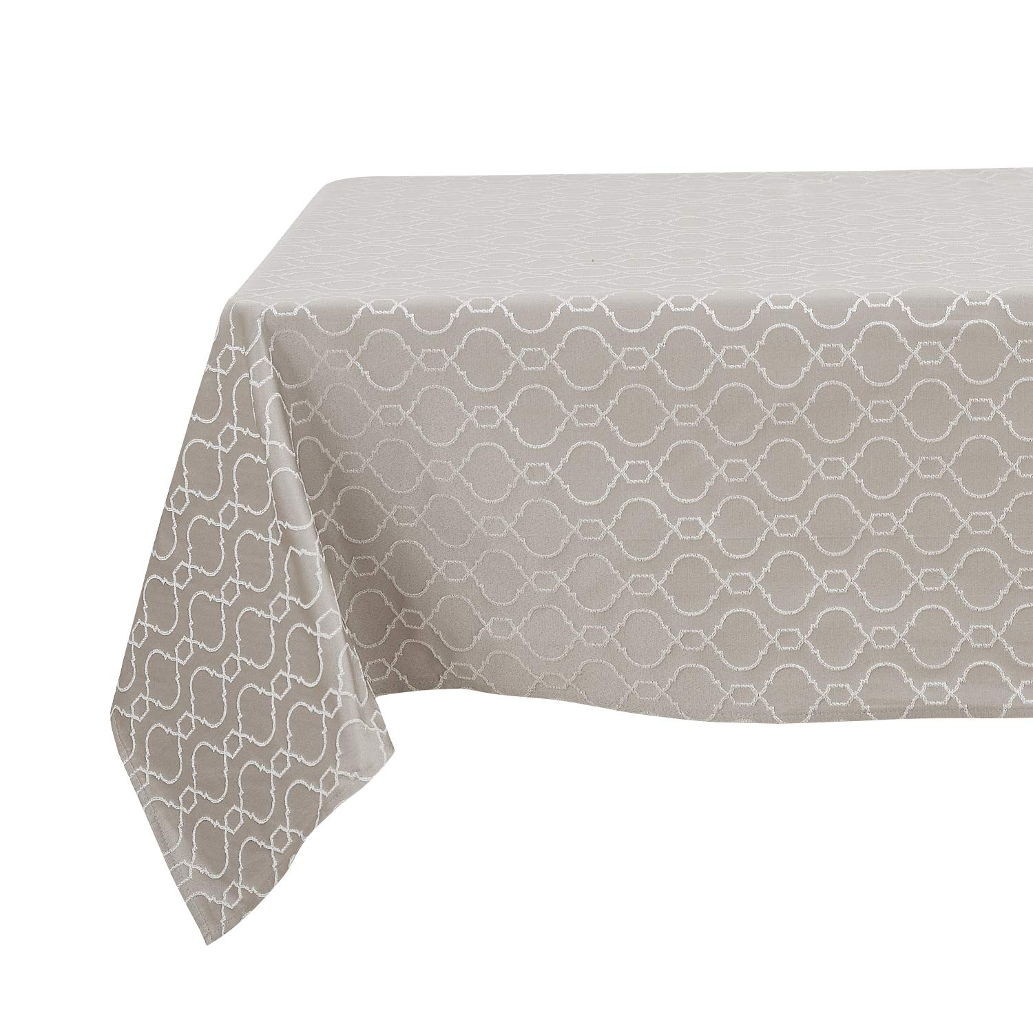 Deconovo Square Table Cloth Wrinkle Resistant Jacquard Morrocan Table Cover Spillproof Tablecloth for Restaurant 54x54 inch Light Khaki
