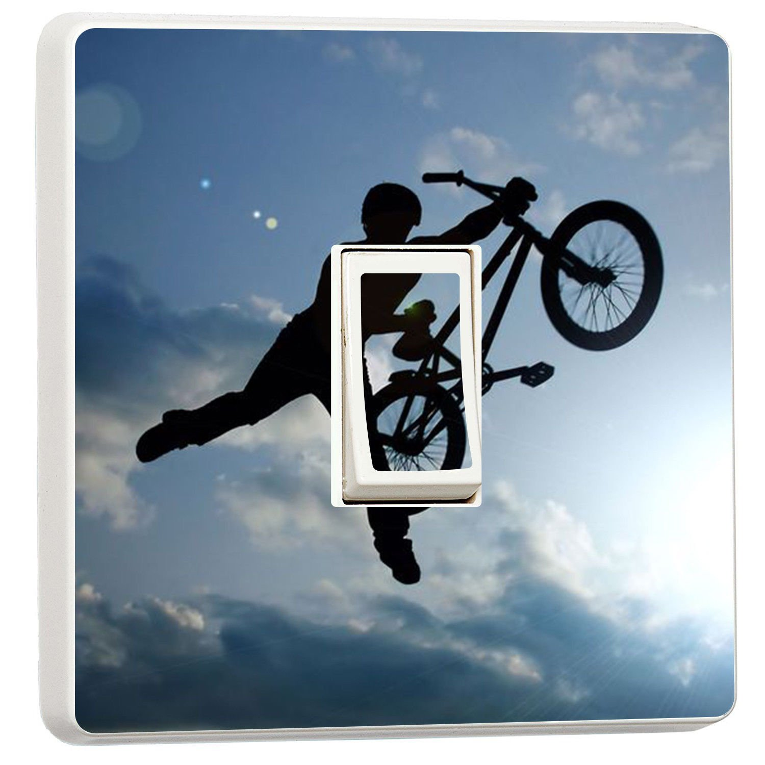 BMX Bike rider photo light switch sticker cover (5036944) Teenager bedroom wmoltdTM