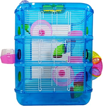 Hamster Cage 3 Story With Tubes Perfect For Hamsters And Gerbils M W Blue Amazon Co Uk Pet Supplies
