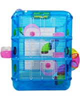 Hamster Cage, 3 Story With Tubes, Gerbil Cage Pet World (blue)