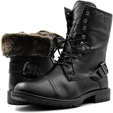 GM GOLAIMAN Mens Snow Dress Boots Fur-Lined Combat Boots