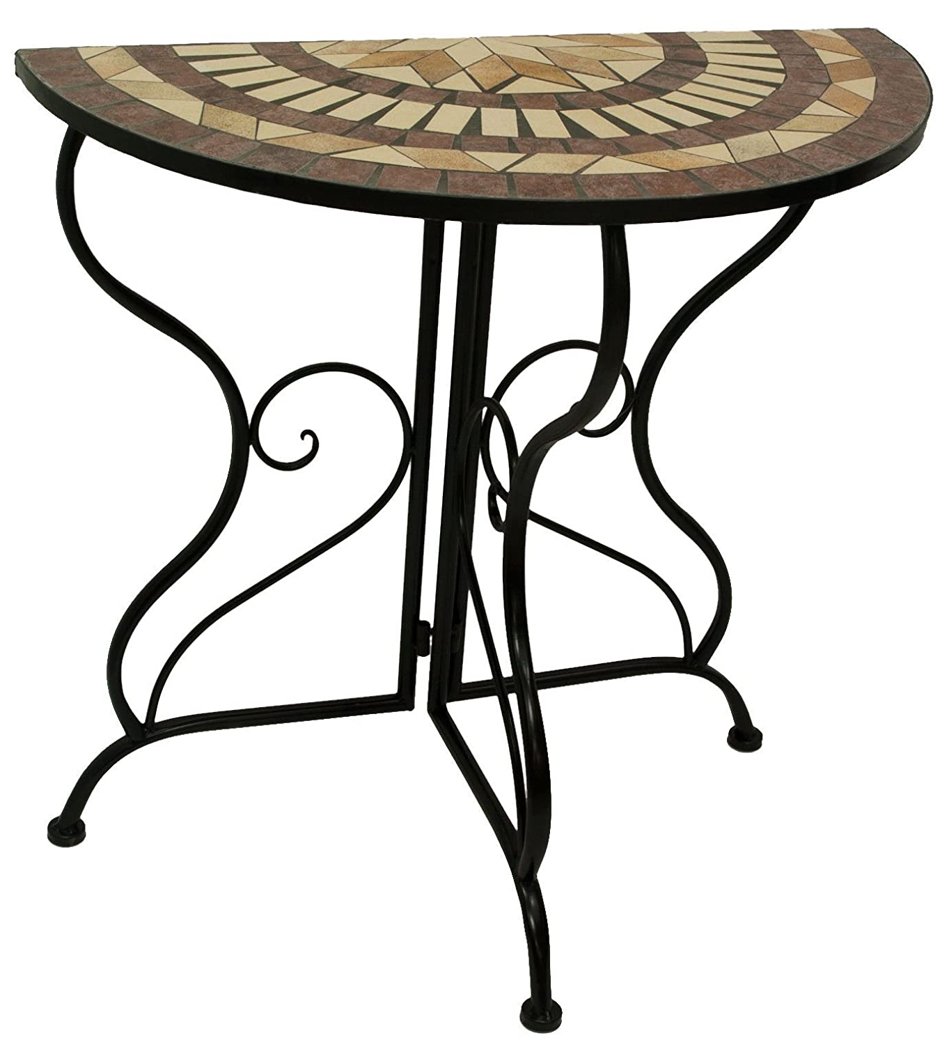 D64066 Console Mosaic Table/Wrought Iron legs