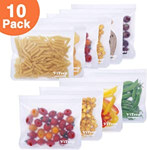 ViTeep Reusable Storage Bags 10 Pack Leakproof Freezer Bag (10 Reusable Sandwich Bags) - Extra Thick PEVA Ziplock Lunch Bags Ideal for Food Storage Home Organization Eco-friendly